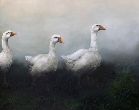 Obraz do salonu artysty Klaudia Choma pod tytułem Gęsi za wodą