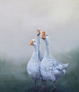 Living room painting by Klaudia Choma titled Gooses, Come Home!