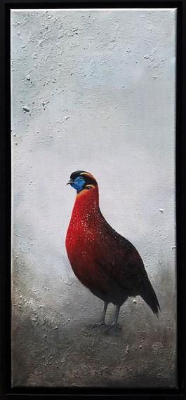 Living room painting by Klaudia Choma titled Tragopan