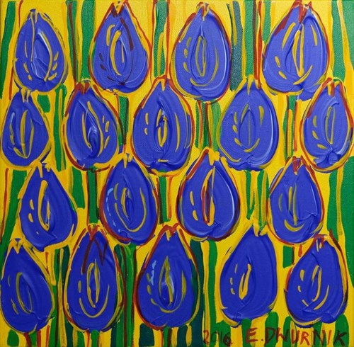 Living room painting by Edward Dwurnik titled Blue Tulips