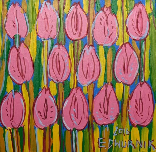 Obraz do salonu artysty Edward Dwurnik pod tytułem Różowe tulipany