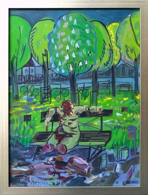 Obraz do salonu artysty Edward Dwurnik pod tytułem Chrystus w parku