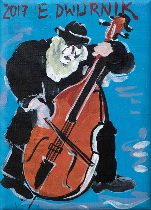 Living room painting by Edward Dwurnik titled Blue Musician