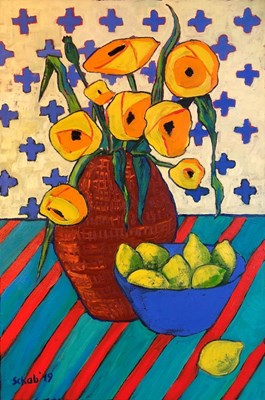 Living room painting by David Schab titled Yellow Poppies