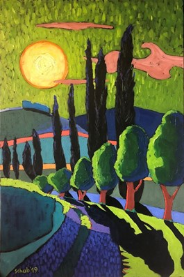Living room painting by David Schab titled Toscania