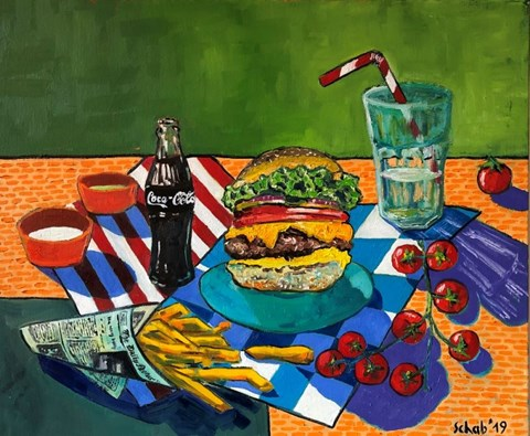 Living room painting by David Schab titled Still nature with the burger