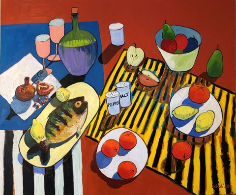 Living room painting by David Schab titled Still Nature With a Fish on Yellow Plate