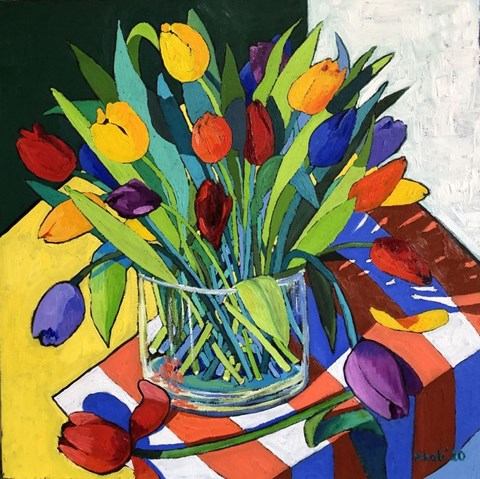 Obraz do salonu artysty David Schab pod tytułem Tulipany w wazonie