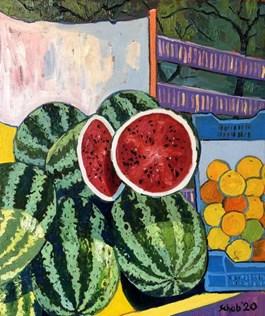 Obraz do salonu artysty David Schab pod tytułem Greckie arbuzy