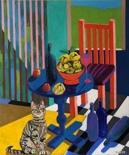 Obraz do salonu artysty David Schab pod tytułem Martwa natura z pigwami z żółtym dywanem