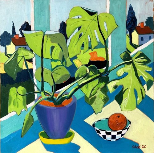 Living room painting by David Schab titled Still Life With Monstera