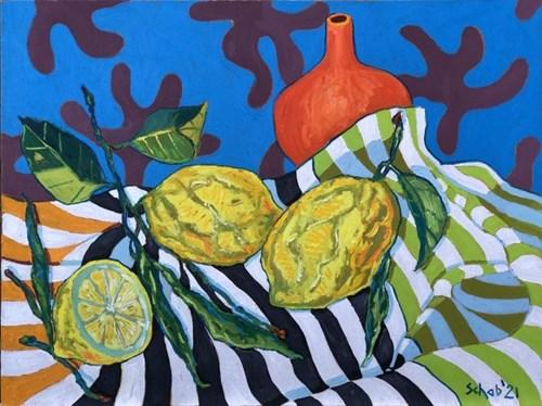 Obraz do salonu artysty David Schab pod tytułem Martwa natura z cytrynami i pomarańczowym wazonem