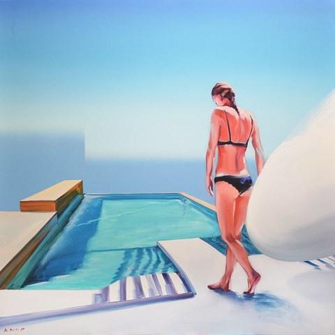 """Obraz do salonu artysty Rafał Knop pod tytułem Madame Sofi AE 02 z cyklu """"Swimming Pool"""""""