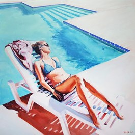 Living room painting by Rafał Knop titled Madame Ev 01  (Swimming Pool series)