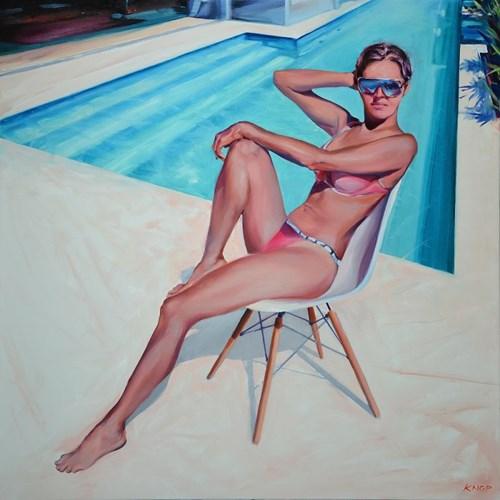 Obraz do salonu artysty Rafał Knop pod tytułem Madame Ev-14 z cyklu Swimming Pool