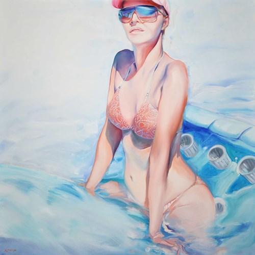 Obraz do salonu artysty Rafał Knop pod tytułem Madame Ev-18 z serii Swimming Pool