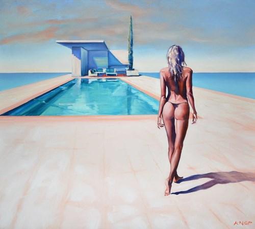 Obraz do salonu artysty Rafał Knop pod tytułem Madame V Angel 16 z serii Swimming Pool