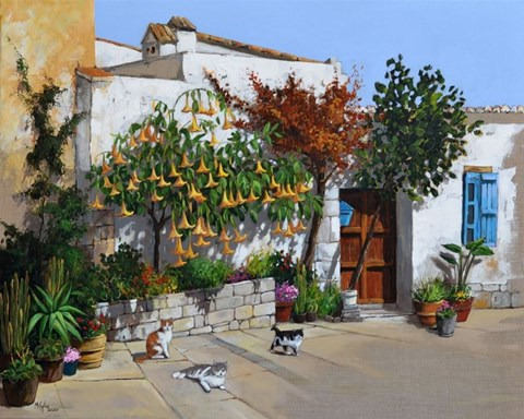 Living room painting by Magdalena Kępka titled Datura and Cyprus Cats