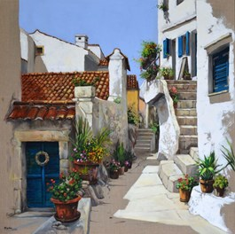 Living room painting by Magdalena Kępka titled Croatian Alley
