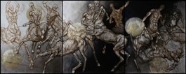 Living room painting by Wojciech Pelc titled The Battle of Centaurs 2 (triptych)