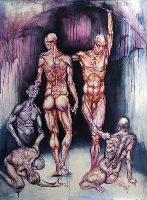 Obraz do salonu artysty Wojciech Pelc pod tytułem Hypnos i Tanatos