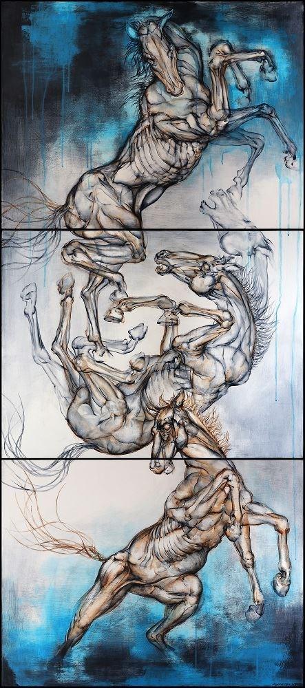 Obraz do salonu artysty Wojciech Pelc pod tytułem Bezwład (tryptyk)
