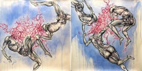 Obraz do salonu artysty Wojciech Pelc pod tytułem Zatracenie (dyptyk)
