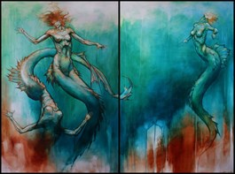 Living room painting by Wojciech Pelc titled Sirens (diptych)