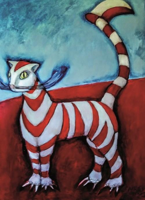 Obraz do salonu artysty Miro Biały pod tytułem Kot polski albo indonezyjski