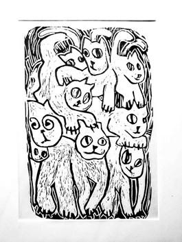 Obraz do salonu artysty Miro Biały pod tytułem Szalone koty