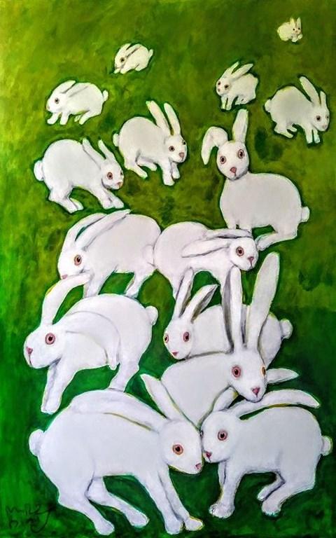 Obraz do salonu artysty Miro Biały pod tytułem Śniadanie na trawie