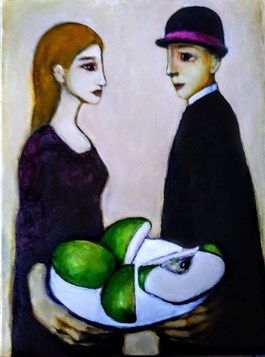 Living room painting by Miro Biały titled Green Apple Cut Into Four Pieces