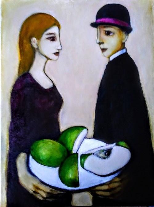 Obraz do salonu artysty Miro Biały pod tytułem Zielone jabłuszko przekrojone na krzyż