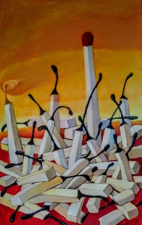 Obraz do salonu artysty Miro Biały pod tytułem Jeszcze ja zostałam
