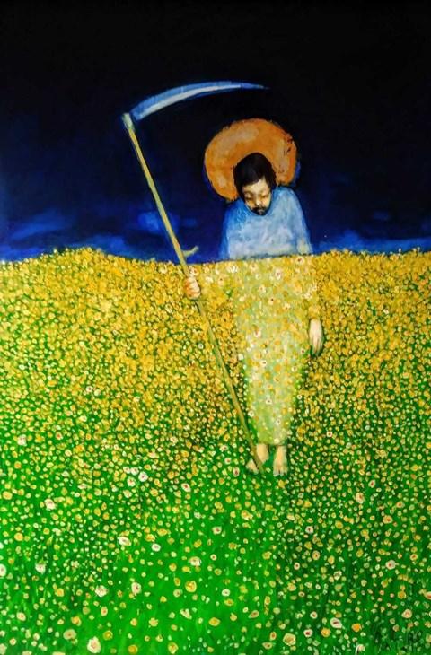 Obraz do salonu artysty Miro Biały pod tytułem Ostatnie koszenie Chrystusa