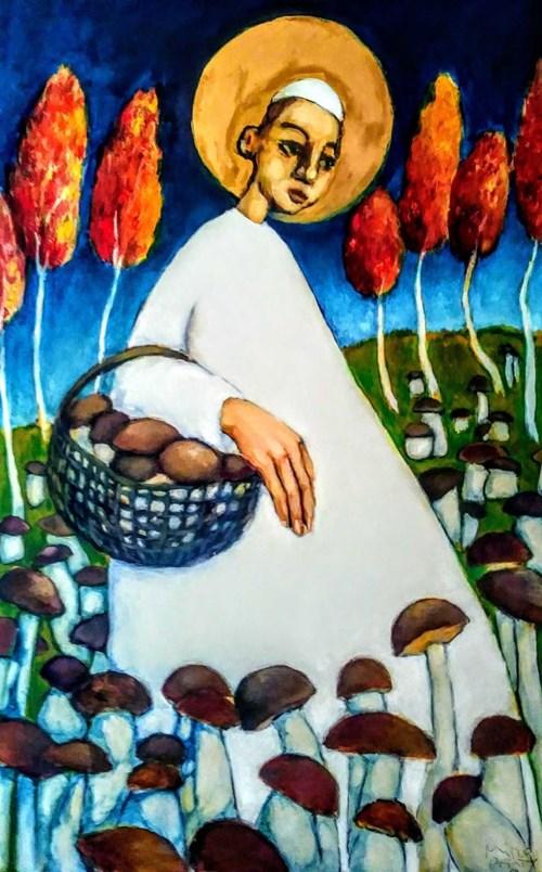 Obraz do salonu artysty Miro Biały pod tytułem Ojciec Święty na grzybobraniu