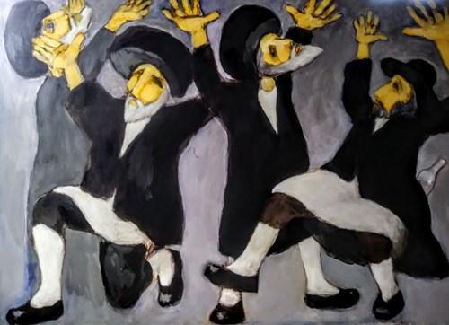 Obraz do salonu artysty Miro Biały pod tytułem Chasydzi tańczą