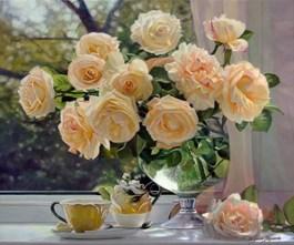 Obraz do salonu artysty Zbigniew Kopania pod tytułem Róże w szklanym wazonie