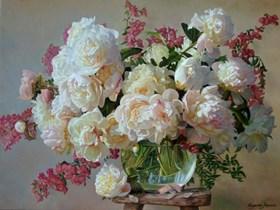 Różowa martwa natura z peoniami