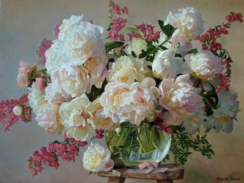 Obraz do salonu artysty Zbigniew Kopania pod tytułem Różowa martwa natura z peoniami
