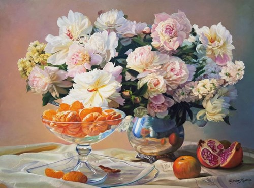 Living room painting by Zbigniew Kopania titled Still Nature With Flowers and Tangerines