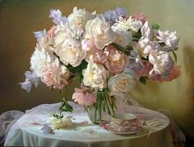 Martwa natura z peoniami i różowym tiulem