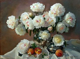 Still Life With Peonies and Peaches
