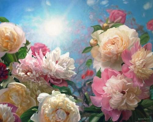 Obraz do salonu artysty Zbigniew Kopania pod tytułem Peonie i błękitne niebo