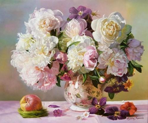 Obraz do salonu artysty Zbigniew Kopania pod tytułem Peonie z jabłkiem