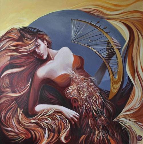 Obraz do salonu artysty Anita Zofia Siuda pod tytułem Zapomniane intrumenty - Hhaharfia