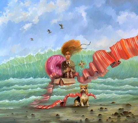 Obraz do salonu artysty Paweł Oleszkiewicz pod tytułem Statek z papieru