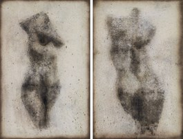 Living room painting by Piotr Trusik titled Nude 1 and 2