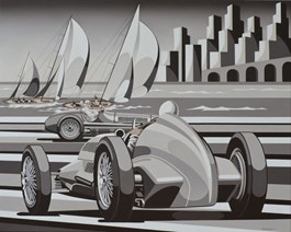 Living room painting by Tomasz Kostecki titled Monaco Grand Prix