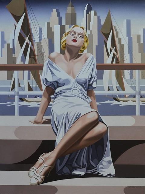 Obraz do salonu artysty Tomasz Kostecki pod tytułem Kobieta i regaty